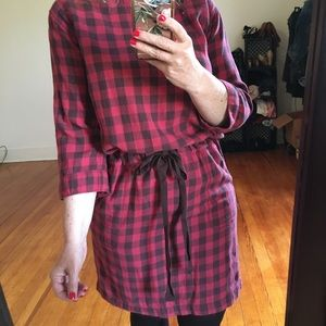 Buffalo Plaid Red Brown Drawstring Cotton Dress